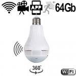 WIFI HD-SpyCam in LED-Lampe. Für jeden E27-Lampensockel geeignet.