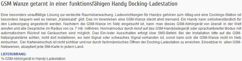 GSM-Abhörgerät in Handy-Dockingstation